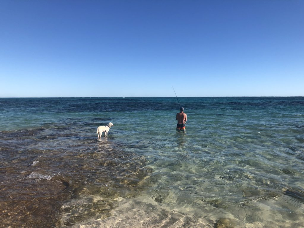 Fishing at dog friendly Five Fingers Reef, Coral Bay, WA